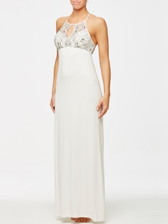 Lace Gown with Silk Trim