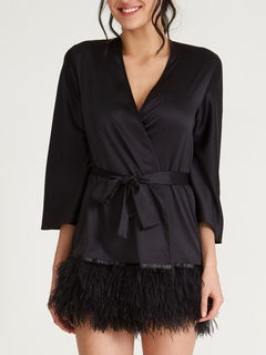 Feathered Hem Cover Up Swan