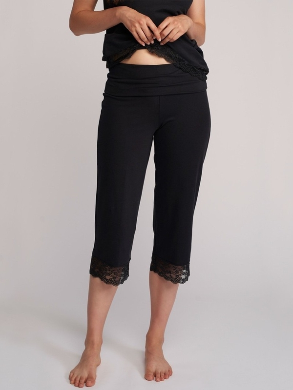 Valerie Lace Trim Crop Pant with Fold Over Waistband